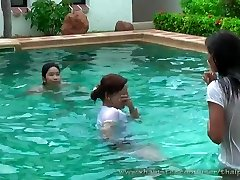 luxurious thai ladies in pool