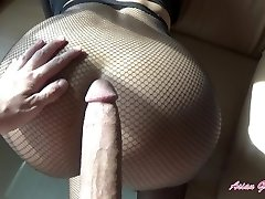 Rip my fishnets and cream pie my little Japanese pussy