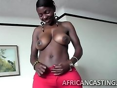 African cutie loves riding spear