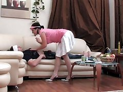 Provoking nurse spreading her butt cheeks craving for harsh cock attack
