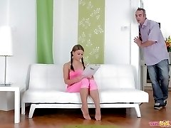 Her man has arrived, and Anna has her young top removed and her man goes for her breasts. He...