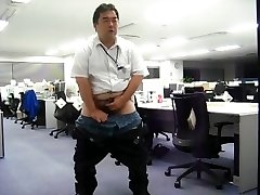 Japanese daddy hand job at his office