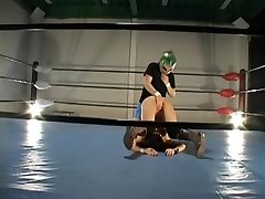Busty hairy Jap smashed in a wrestling ring