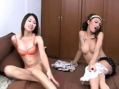 Two horny teen she-males are fooling around before ass screwing
