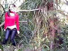 chinese girl making liking outdoor