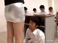 college girl lick her tutor in classroom