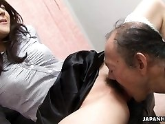 Old boy is eating that wet hairy nubile pussy up