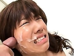 Asian school blowjob with whorey red-haired taking messy facial