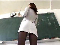 Sexy Asian Schoolteacher in Miniskirt Pantyhose