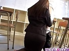 Mei Sawai Asian huge-chested in office suit gives hot blowjob at school