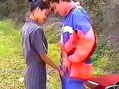 French asian anal in the forest