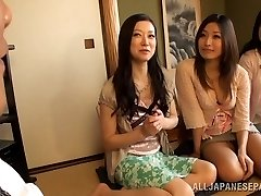 Busty Housewifes Team Up On One Fellow And Jerk Him Off