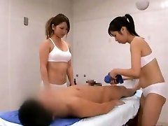 Subtitled CFNM Chinese sauna lady duo manstick cleaning