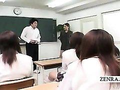 Subtitled CFNM Japanese classroom masturbation demonstrate