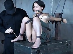 Pretty Japanese babe Milcah Halili is punished with vibrator and buttfuck beads