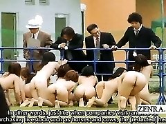 Subtitle outdoor BDSM CMNF Japanese group penis worship
