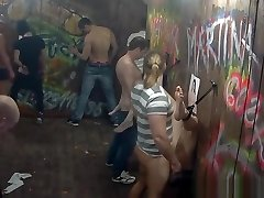 Gals get Drilled in Public Glory Hole Action
