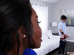 Ebony MILF catches Him watching Porn