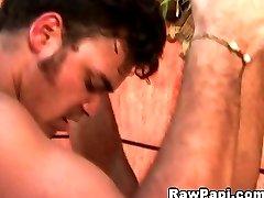 Horny gay have bareback fun