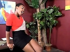 Sexy ebony screwed up in many positions and cum facialed