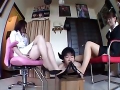 Japanese Female Dominance feet trample worship footwear barefoot kicking ball busting sm