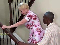 Blonde Granny Invites Black Dad For Creampie.