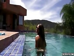 Busty Amateur Sucks Dick At The Pool