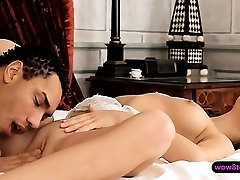 Seductive curly brunette gal with perky boobs banged hard
