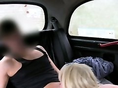 Massive tits blonde fucked in fake taxi in public