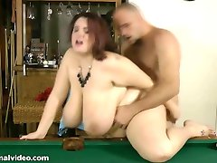 Huge Tit Brunette BBW Is Bent Over Pool Table and Fucked