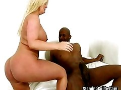 Big Tits Blonde Takes Black cock On Her Pussy