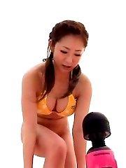 Minori Hatsune Asian busty in bath suit rubs OutdoorJp.com