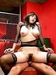 Azusa Nagasawa Asian with very big tits sucks boner and is nailed