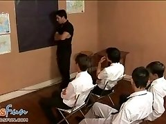 Lovely twink students team up to inhale their teacher