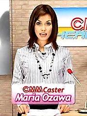 TV News girl Maria Ozawa gets blasted with bukkake semen