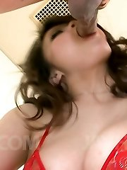 Yuu Haruka Asian plays with tongue on chisel and bj's it entire