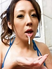 Ruhime Maiori Asian doll rubs phallus with wonderful and oiled legs