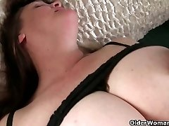 Big-boobed grandma has to take care of her throbbing stiff clit