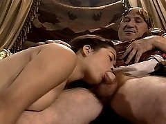 Asian Young Dame Casting made by Older & Fat Grandfather