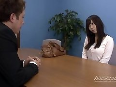 Job interview leads deep throating a cock