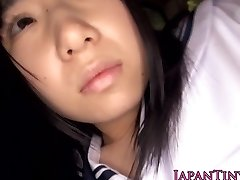 Harmless japanese college girl swallows cum