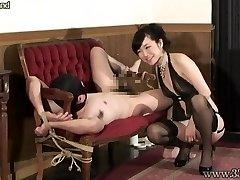Japanese Femdom Guts Massage Bound Slave