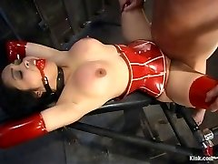 My crimson latex slave doll