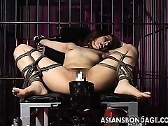 Sexy girl is roped up and fucked by ample machine