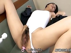 Huge pussy Japanese bitch gets plaything fucked strongly