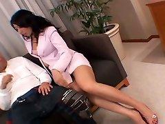 Whorish Asian secretary masturbates her fuckbox right in front of her boss