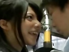crazy schoolgirl seduce office workers on bus