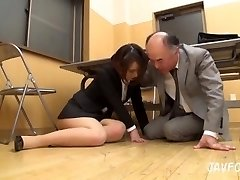 Japanese MILF backside groped in the office! her elder boss wants some fresh beaver