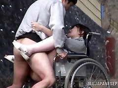 Horny Japanese nurse sucks weenie in front of a voyeur