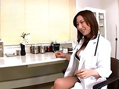 Jpn female doctor rams objects and finger into peehole